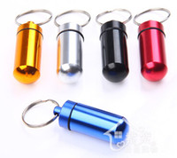 Other Backpacking  Travel Waterproof Aluminum Pill case Box Case holder Bottle Container with Key Ring 1pcs