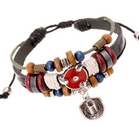 Wholesale Cowboy hat decoration beaded bracelets with two colors new Charming punk retro leather bracelets Jewelry