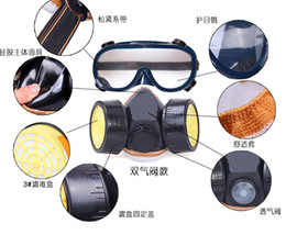 Wholesale Double tube double tank gas masks respirators eye mask Anti Dust Paint Respirator Mask Industrial Chemical Gas Mask