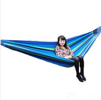 Wholesale Factory price Canvas X cm Single outdoor hammock tourism camping hunting Leisure Fabric Stripes