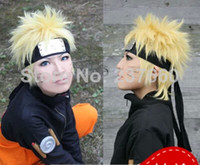 Wholesale the golden become warped Naruto headless static male naruto cos wig Free Shippin