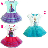 Wholesale AAAA quality Frozen Princess Anna Elsa Sofia Short Sleeve round Neck Dress Children Girls Pompon Gauze Dresses Baby Girl Party Tutu Dresses