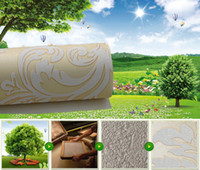 Wholesale 2014European Fashion Non woven Wallpaper Thickening Damascus Wall Stickers Background Wallpaper Beige Light Beige Grey Colors M Roll cm