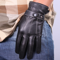 Finger Gloves gloves leather gloves - Mens Black Soft Leather Gloves Mittens Riding Sports Cycle Gloves Sports Skating