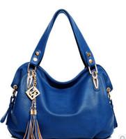 Wholesale Women Fashion Tassel Tote Bags Ladies Leather HandBags Removable Strap Shoulder Bags Golden Metal Cross Body Bags