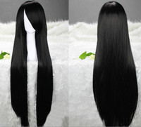 Long cheap black hair - Lowest price cm black cheap long straight cos real hair Ladies cosplay costume wig