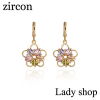 Dangle & Chandelier Women's Drop Earrings 2014 new elegant fashion design plated 18k Rose Gold Colorful CZ Diamond pendant flower Zircon earrings Drop jewelry for women