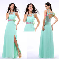 Reference Images other Chiffon Wholesale - In Stock 2014 Modern Aqua Sequins Sexy Floor-length Side Slit Women's Formal Prom Dresses Hollow Chiffon Long Prom
