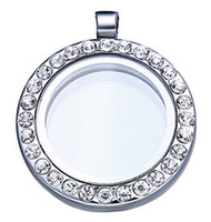Wholesale 25mm Floating locket Living memory glass CZ crystal Paved Round Circle pendant charms necklace DIY accessory