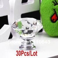 Ceramic Furniture Handle & Knob  new 30Pcs Lot Wholesale 30mm Diamond Shape Crystal Glass Cabinet Knob Cupboard Drawer Pull Handle B16 TK0636