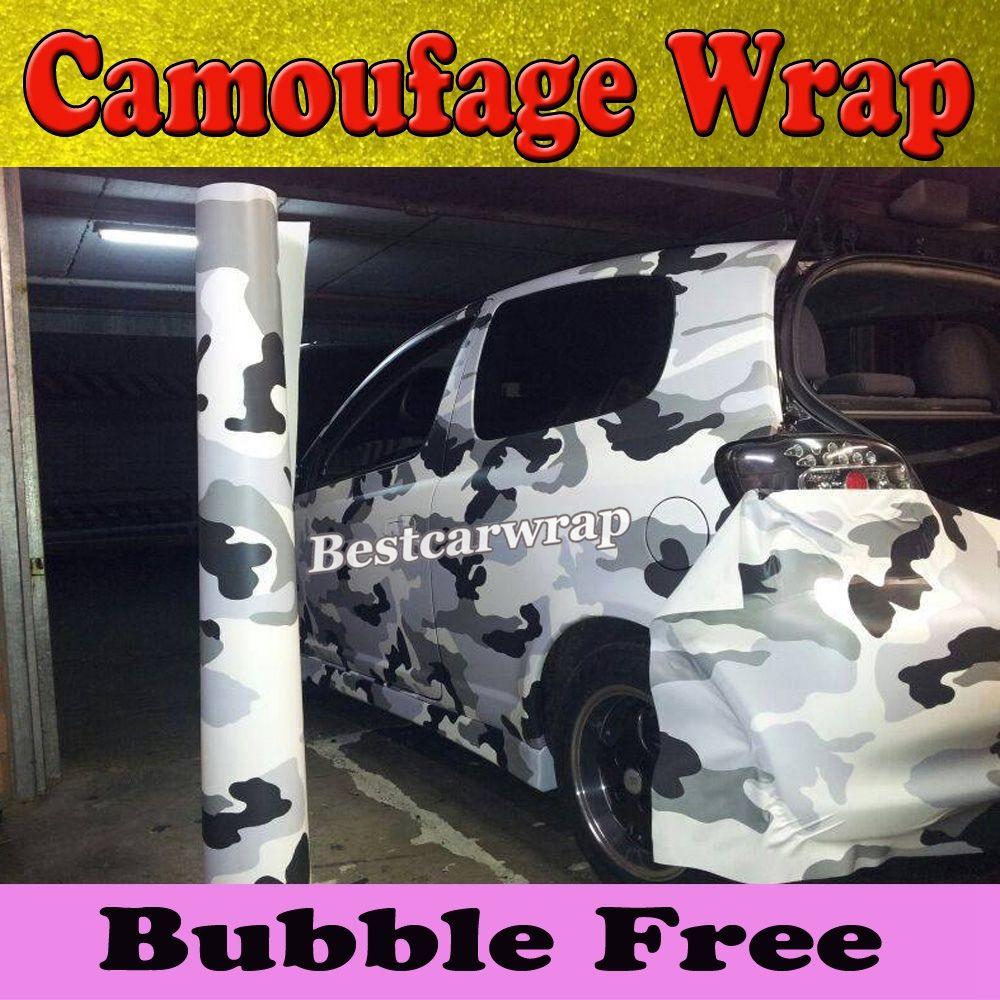 2017 Winter Snow Camo Vinyl Wrap Full Car Wrapping Acrtic Black ...