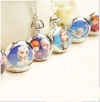 Wholesale New Fashion Frozen Elsa Anna Kids Gift Necklace Pocket Watch Children Girl Lovely Snow Queen Olaf Ceram Clothes Chain Silver High Quality