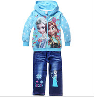 Cheap baby Girls Summer Clothing Sets Girl's Brand Clothing Sets Children's suit sets Frozen Princess hoodies+jeans pants