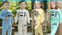 boys and girls clothing - 36933832666 autumn Kids Clothing children boys and girls new cartoon cute long sleeved pants baby Set