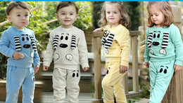 Wholesale 36933832666 autumn Kids Clothing children boys and girls new cartoon cute long sleeved pants baby Set