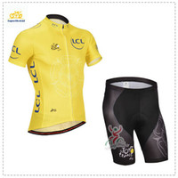 Cheap 2014 Tour De France Team Cycling Jersey Set Yellow Short Sleeve With Padded Pants High Quality Bicyle Clothing Men Summer Cycling Skinsuit