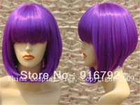 Straight Wig,Half Wig Synthetic Hair free shipping *******Heat Resistant-Purple Chin Length BOB party cosplay hair wig