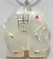 Beaded Necklaces solitaire pendants White Jade 18KWGP Red Cubic Zirconia Ruby Eye Elephant Pendant & Necklace