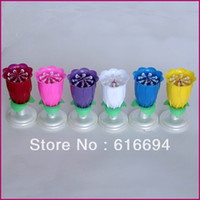 Wholesale unique firework rose flower rotating happy birthday cake decoration musical Candle