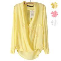 womens tops - Hot Fashion European Womens Long Sleeve Loose Deep V Neck Shirt Solid Color Tops Blouse Shirt Z