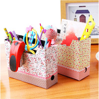 Bamboo Sundries Eco Friendly New Cute DIY Cosmetic Stationery Paper Board Storage Makeup Box Desk Decor Organizer#55556
