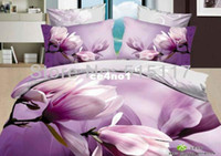 Wholesale Home of Oil painting Textile bedding sets purple flower include Duvet Cover Bed sheet Pillowcase coverlet bed cover