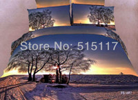 100% Cotton other Cotton Pillowcases colorful Noble Beautiful sunset flower twill 3d bedding sets 4pcs bed cover bed sheet textile bedspread bed linens*