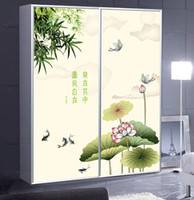 Graphic vinyl PVC Animal home decor Multicolour glass film ink chinese style bathroom scrub wardrobe sliding door furniture