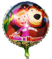 bearings supply - Cartoon Aluminum Classic Toy Happy Birthday Decoration Masha and Bear Balloon for Wedding Party Supplies Foil Ballon