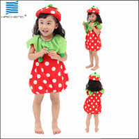 Wholesale strawberry fruit costume Lovely dress Kids Halloween and Christmas costumes kids performance clothing
