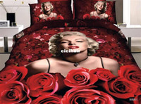 other Cotton Twill marilyn monroe&red rose 3d bedding set Painting romantic coverlet bedsheet bed sheet bed cover home textile pillowcase cover