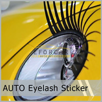 Wholesale 10 Pair X Black Car Eyelash Automotive Eyelashes Eyeliner D Car Logo Sticker Stereo car Accessories