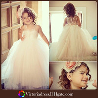 flower girl dress party - Beautiful Girls Dress For Wedding Flower Dresses Jewel Neckline Floor Length Sleeveless Lovely Princess Girls Pageant Gown Party Gowns