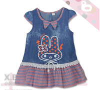 short dress with jeans - Summer child cloth Girls Short Sleeve Jeans Fabric Joint Stripe dress Rabbit denim blue with dot Bowknot K0040