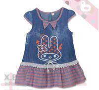 Wholesale Summer child cloth Girls Short Sleeve Jeans Fabric Joint Stripe dress Rabbit denim blue with dot Bowknot K0040