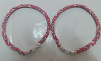 Wholesale Sale Tornado Titanium Sports Necklace with Pink Ribbon Stoppers for Breast Cancer Anion Healty Necklace