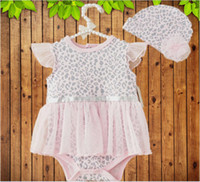 Wholesale 2014 Autumn Infant Flouncing Hoody Climbing Clothes Cotton Romper Vest Baby Girl Jumpsuits lace leopard tutu Romper dress Hat M0228