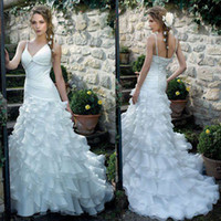 Wholesale Custom Made New Design V Neck Wedding Dresses Layered Organza Mermaid Wedding Gown With Beads Lace Up Back
