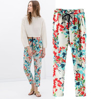 Wholesale Women Fashion Pants Floral Printing Loose Casual Harem Pants Fashion New