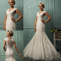 Trumpet/Mermaid Reference Images V-Neck Wholesale - 2014 Amelia Sposa Wedding Dresses Mermaid V Neck Cap Sleeve Lace Tulle Appliques Sheer Backless Bridal Dresses Free Shipping