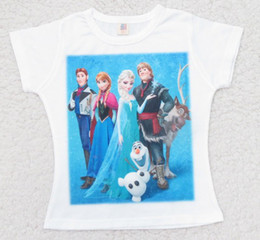Wholesale Summer Frozen Elsa Anna Half Sleeve T Shirt Cartoon Children Girls Clothing Kids Short Sleeve Clothes T E0099