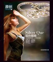 al por mayor luces de comedor-Original de estar de lujo Sala de cristal K9 luz de techo Dia60 / 80 / 100cm LED redonda Araña 4 6 8 Jefes Comedor Restaurante HSA178