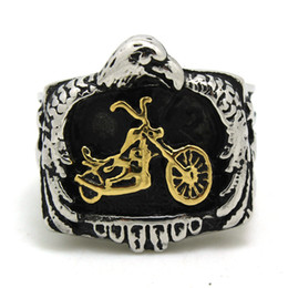 Wholesale Size to size Motorcycles Top Quality Motor biker Ring Price L Stainless Steel Gold Silver Biker Style Ring