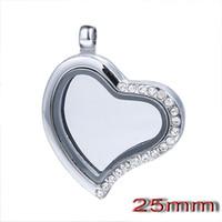 Wholesale 20pcs mm Silver Heart magnetic glass floating charm locket Zinc Alloy Rhinestone floating charms locket
