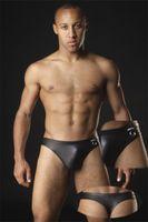 Cheap Men Imitation Leather Thongs Best PU G-Strings & T-Back & Thongs Shorts Men Thongs