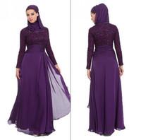 Cheap New Collection Hot Selling Chiffon Long Sleeves Fashion Lace Arabic Prom Dress