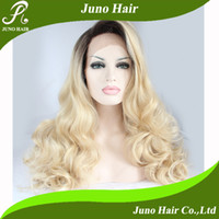 Wholesale 2014 New Arrival Heat Resistant Long Synthetic Wavy Dark Roots Blonde Hair Hand Made Lace Front Hair Wigs for Black Women s242
