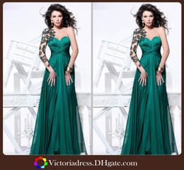 Wholesale High Quality Traik Ediz Prom Dresses Design Long Sleeve with Peacock Green Elegant Evening Dress