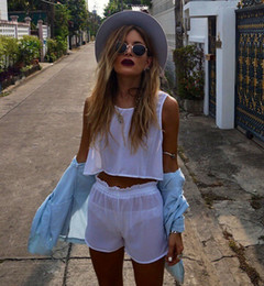 Wholesale 2014 Women Summer Sheer White Chiffon Suit Shirt and Shorts Two Piece Including Shorts and Loose Crop LQ4448