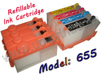 Ink Cartridge Compatible UNIPRINT 10sets refillable ink cartridge with chips for HP655 HP 655 deskjet 3525 4615 4625 5525 6525